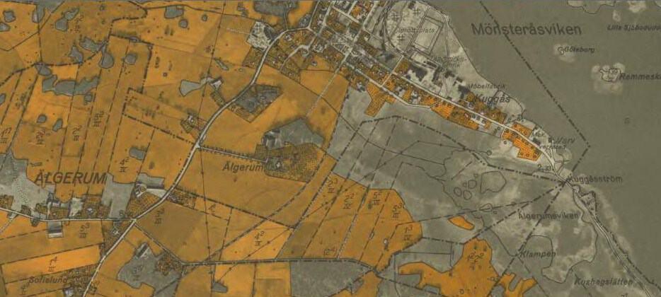 Den ekonomiska kartan från 1941 över Elgerumsgården i Mönsterås kommun.